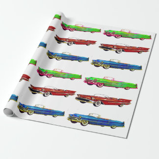 vintage car wrapping paper