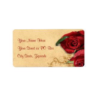 Vintage Caramel Brown & Rose Address Label