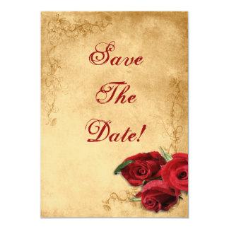 Vintage Caramel Brown & Rose Save The Date Wedding Custom Invites