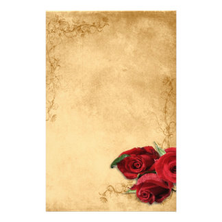 Vintage Caramel Brown & Rose Stationery