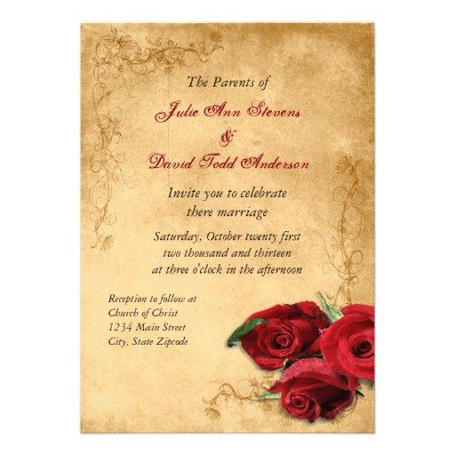 Vintage Caramel Brown & Rose Wedding Personalized Invitation