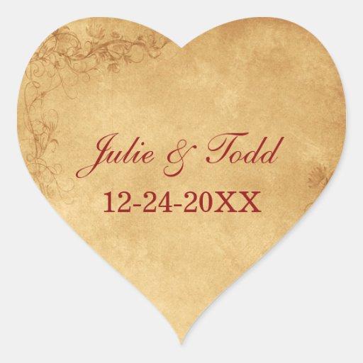 Vintage Caramel Brown Wedding Save The Date Heart Sticker