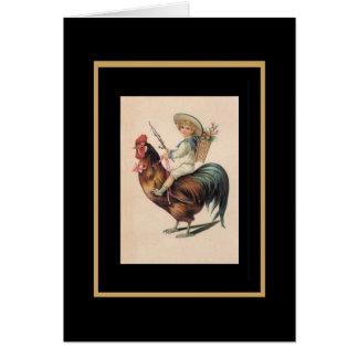 Vintage Card Boy On Rooster