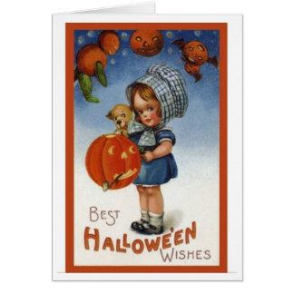 Vintage Card  Design-Best Halloween Wishes