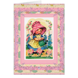 Vintage Card Happy Birthday To Little Girl