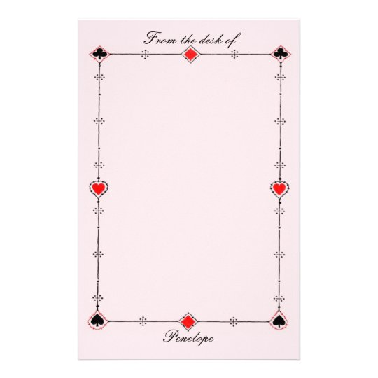 Vintage Card Suits Border on Pink with Your Name Customized Stationery