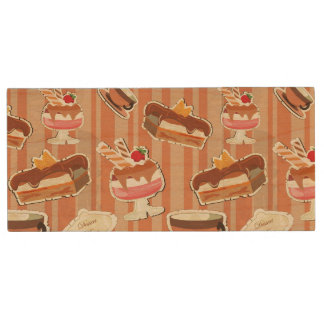 Vintage Card With A Strawberry Dessert Wood USB 2.0 Flash Drive