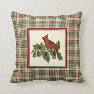 Vintage Cardinal Woodland Christmas Plaid Pattern Cushion