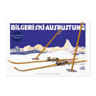 Vintage Carl Kunst Bilgeri Ski Equipment Canvas Print