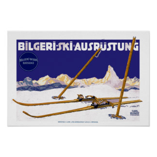 Vintage Carl Kunst Bilgeri Ski Equipment Poster
