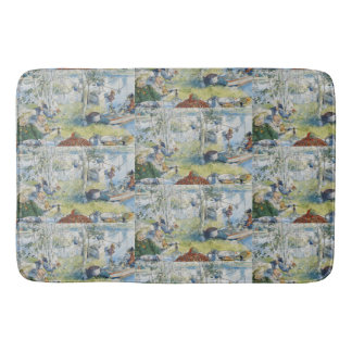 Vintage Carl Larsson Cray Fishing With The  Family Bath Mat
