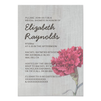 Vintage Carnation Bridal Shower Invitations