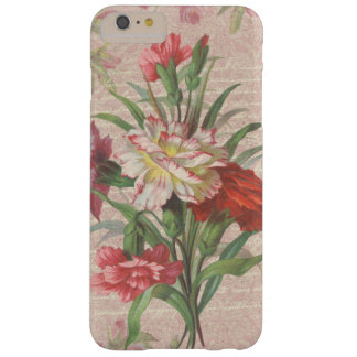 Vintage Carnations with Script Floral Background Barely There iPhone 6 Plus Case