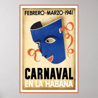 Vintage Carnaval en la Habana Havana Cuba Travel Poster