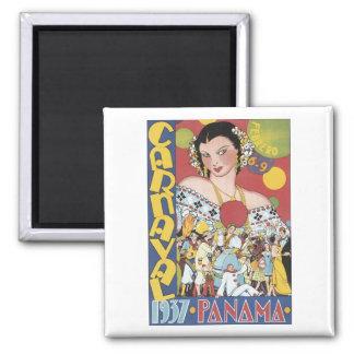 Vintage Carnival 1937 Panama Travel Poster Square Magnet