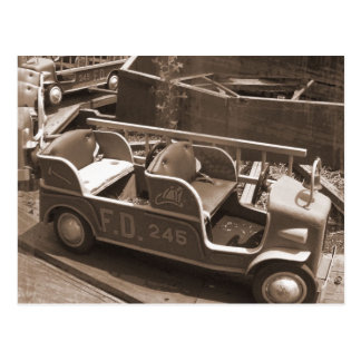 Vintage Carnival Fire Truck Postcard