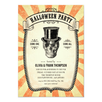 Vintage Carnival Show Halloween Invitations