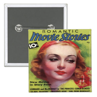 Vintage Carole Lombard Movie Stories Mag 15 Cm Square Badge