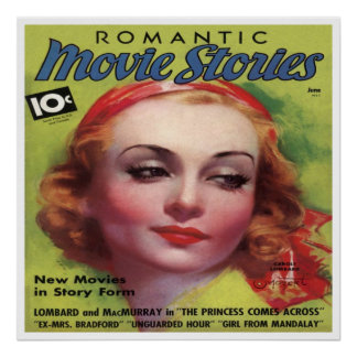 Vintage Carole Lombard Movie Stories Mag Poster