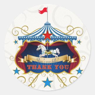 Vintage Carousel Horse Thank You Favor Sticker