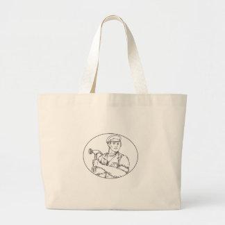 Vintage Carpenter Hammer Mono Line Large Tote Bag