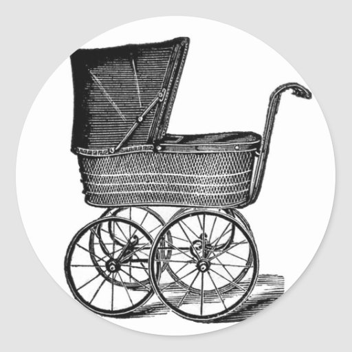 Vintage Carriage Baby Shower Stickers