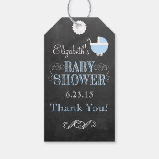 Vintage Carriage Chalkboard Look Blue Baby Shower