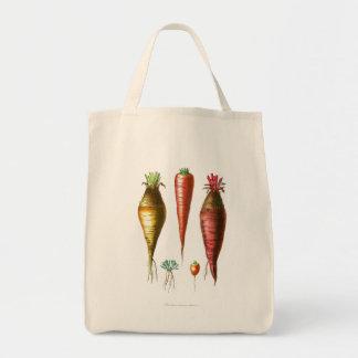 Vintage Carrots Vegetarian Grocery Tote Bag