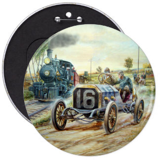 Vintage Cars Racing Scene,train painting 6 Cm Round Badge