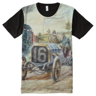 Vintage Cars Racing Scene,train painting All-Over Print T-Shirt