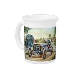 Vintage Cars Racing Scene,train painting Beverage Pitcher
