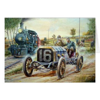 Vintage Cars Racing Scene,train painting Card