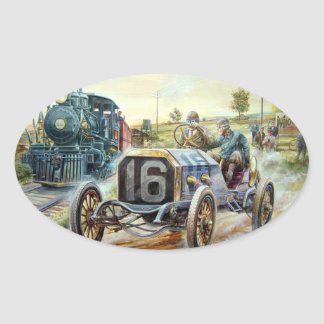 Vintage Cars Racing Scene,train painting Oval Sticker