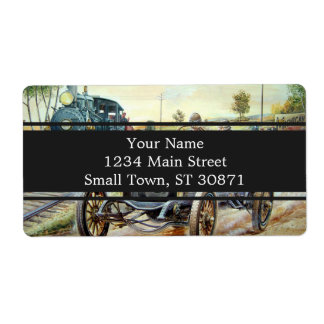 Vintage Cars Racing Scene,train painting Shipping Label