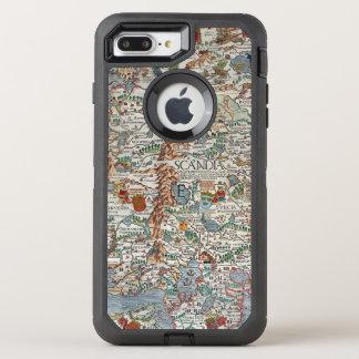 Vintage Carta Marina Scandinavia Map OtterBox Defender iPhone 8 Plus/7 Plus Case