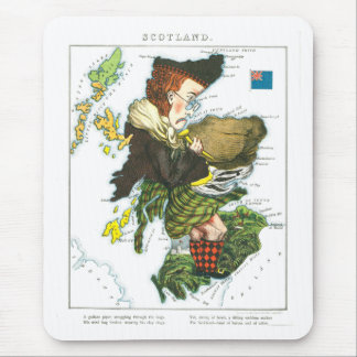 Vintage Cartoon Map of Scotland Mouse Pad