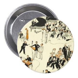 Vintage Cartoon Radio Program Musicians Funny Pinback Button
