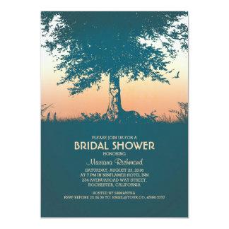 Vintage Carved Tree Rustic Bridal Shower 13 Cm X 18 Cm Invitation Card