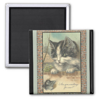 """Vintage cat and mouse """"waiting for me?"""" refrigerator magnets"""