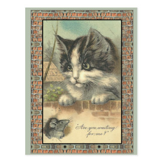 "Vintage cat and mouse ""waiting for me?"" postcard"