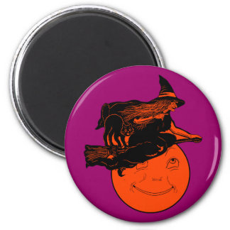 Vintage Cat and Witch on a Broomstick Fridge Magnets