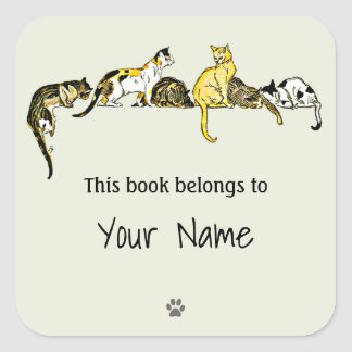 Vintage Cat Art Bookplate Sticker