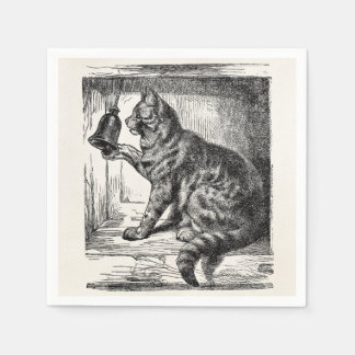 Vintage Cat Bell Animal Illustration Template Disposable Serviette