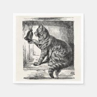 Vintage Cat Bell Animal Illustration Template Paper Napkins