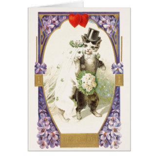 Vintage Cat Bride and Groom Wedding Card