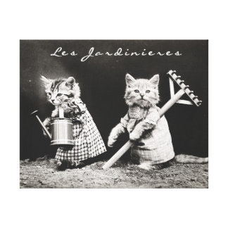 VINTAGE CAT CANVAS PRINT, ADORABLE CATS IN GARDEN CANVAS PRINT