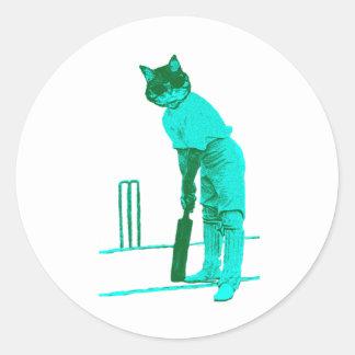 vintage cat cricketer green turquoise round sticker
