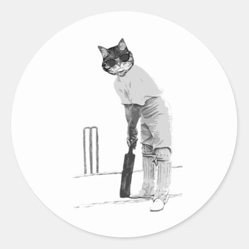 vintage cat cricketer round stickers