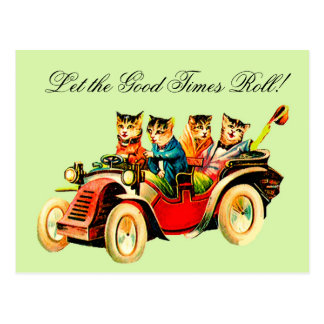 VINTAGE CAT GROUP -LET THE GOOD TIMES ROLL! BY ARA POSTCARD