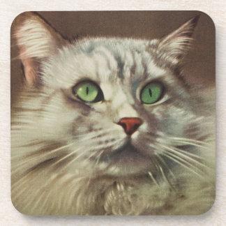 Vintage Cat Illustration White Feline Coaster